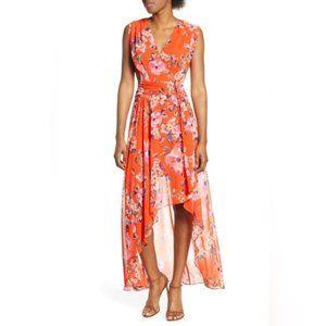 Eliza J. Orange Floral Hi-Low Maxi Dress Size 10P